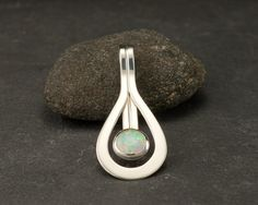 Opal Pendant Opal Necklace Sterling Silver Necklace by Artulia, $88.00
