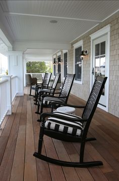 Traditional Restored Shingle Home Front Porch. Front porch with rocking chairs. Great causal front p Farmhouse Front Porches, Country Porches, Southern Porches, Farmhouse Windows, Coastal Farmhouse, Modern Farmhouse, Porch Chairs, Desk Chairs, Lounge Chairs