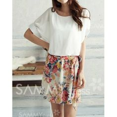 $6.76 Floral Print Short Sleeves Scoop Neck Chiffon Retro Style Dress For Women
