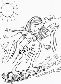 Cute surfer coloring page