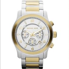 Michael Kors 'Large Runway' Chronograph Watch 45mm Brand new Michael Kors Runway Watch in silver and gold - never worn. Comes with the box and pillow. Bought for $275. MICHAEL Michael Kors Accessories Watches
