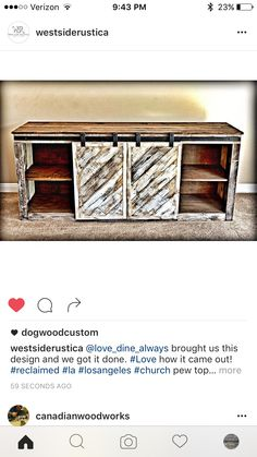 Reclaimed wood media console with sliding barn doors