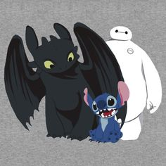 """Toothless,Stitch and Baymax"" T-Shirts & Hoodies by drawingdream 