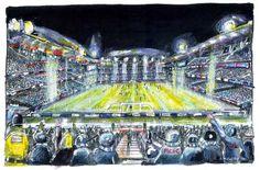 Etihad Stadium by Anthony McCarthy City Photo, Drawings, Drawing, Portrait, Illustrations