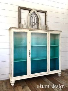 Sold Coastal painted hutch/ china cabinet aqua/ от UTurnDesign decor diy furniture Items similar to Sold! Coastal painted hutch/ china cabinet, aqua/ turquoise ombre cabinet on Etsy Funky Furniture, Refurbished Furniture, Paint Furniture, Repurposed Furniture, Furniture Projects, Furniture Makeover, Home Furniture, Refurbished Hutch, Vintage Furniture