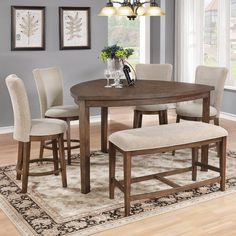 Best Quality Furniture Weathered Oak Counter Height Dining Table Set with Bench, Beige, Size Sets Counter Height Dining Table, Solid Wood Dining Table, Dining Table In Kitchen, Extendable Dining Table, Dining Tables, Pub Table Sets, Dining Room Sets, Quality Furniture, Dining Furniture
