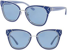 bd3ff7d98f2 Tory Burch Enamel San Ray 53mm Sunglasses Blue Streaks