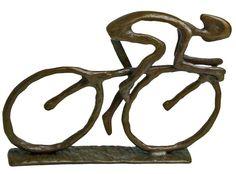 Danya B ZD480 Bronze Cyclist Figurine Bronze Home Decor Accents Statues & Figurines