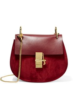 Burgundy leather and suede (Calf) Pin and clasp-fastening front flap Comes with dust bag Weighs approximately 2lbs/ 0.9kg Made in Italy