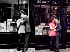 Classy Engagment Photo....in front of bookstore!
