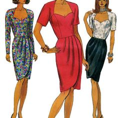 Vintage 1990s Vogue 8042 Pullover Dress with Sweetheart Neckline, Mock Wrap Skirt -Size 8, 10, 12/Bust 31.5, 32.5, 34 -UNCUT Sewing Pattern