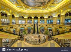 Ornate interior of The Venetian Macao casino and hotel in Macau China Stock Photo China Image, Macau, Beautiful Interiors, Venetian, Tourism, Stock Photos, Mansions, Architecture, House Styles