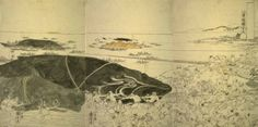 Hauling in Whales by Kuniyoshi. Drawing for a triptych of whales being pulled ashore. Japanese Yokai, Baleen Whales, White Whale, Kuniyoshi, Triptych, Woodblock Print, Scary, Dog Cat, Moose Art