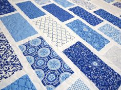 Baby Boy Quilt, Modern Baby Quilt, Spa Deb Strain, Classic Blue and White on Etsy, $155.00