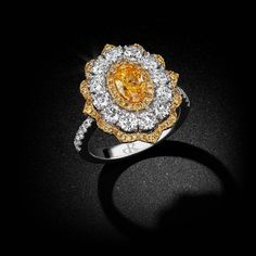 💛Fancy Intense Yellow Orange Oval Diamond Gold Ring💛 This astounding masterpiece gleams with a resounding display of color and brilliance. And incredibly rare Fancy Intense Yellow Orange. Diamond Flower, Oval Diamond, Unique Diamond Rings, Bridal Ring Sets, Wedding Rings For Women, Colored Diamonds, Gold Ring, Jade Ring, Fancy