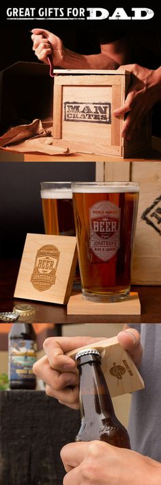 Is your Dad a booze enthusiast? He'll feel like royalty when he pries open a top-notch barware set laser-etched with his very name this Father's Day. With the Personalized Barware Man Crate, every sip of brew will taste like a rich, ode to his own greatness. It's like that World's Best Dad mug you got him in grade school, except there's four glasses that he'll actually be proud to use!
