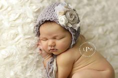 Newborn+Photography+Prop+Vintage+Bonnet+knitted+with+by+OLuvinit,+$44.00