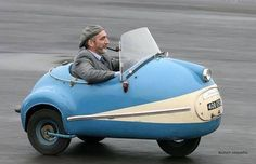 The Brütsch Mopetta was the smallest in a series of microcars designed by Egon Brütsch. The Mopetta was an egg-shaped, single-seat, three-wheeler, with a single wheel at the front. It had an open roadster type fiberglass body, although at least one car had a detachable, transparent, folding hood. The car used a 50 cc (3 cu in) ILO V50 engine with a pull start and with an integral three-speed gearbox. Top speed was tested at 22 mph (35 km/h), with an average fuel consumption of 111 mpg-imp…