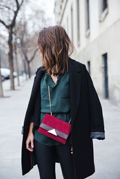 Leather_Trousers-Black_Coat-Gree_Shirt-Burgundy-Outfit-Street_style-1 by collagevintageblog, via Flickr