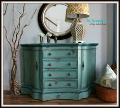 The Turquoise Iris: Teal, Blue & Green Painted Entry Chest. Love the color combination.