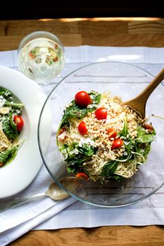Creamy Pasta & Wilted Greens in a Lemon Wine Sauce