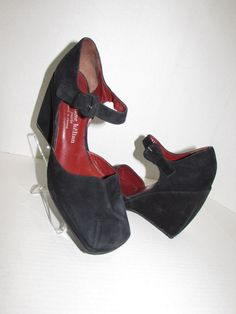"""STEPHANE KELIAN Paris Black Suede Wedge  SZ 8.5   A little quirky yet classic. These have a great walking surface, but with a 4"""" wedge, a little too high for my over-50 feet."""