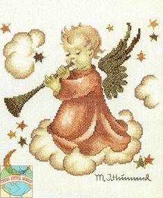 """JCA / Hummel - """"Trumpeting from the Clouds"""" Hummel cross stitch kit"""