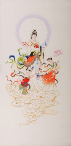Kwan-yin and labs Chinese Figure #Painting