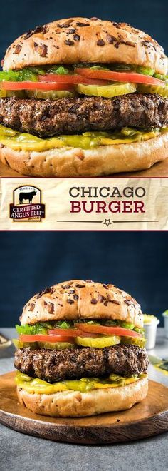 The Chicago Burger is a Certified Angus Beef®️ brand lean ground beef burger that is PACKED with flavor! The BEST ground beef is mixed with celery salt and black pepper before being pan seared or grilled. Complete each burger with pickles, tomato, neon relish and onion and poppy seed buns for a DELICIOUS burger recipe! #bestangusbeef #certifiedangusbeef #beefrecipe #burgerrecipe