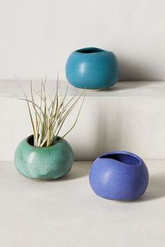 Anthro Canyon Planters by Judy Jackson #ceramic #blue #teal #handmade