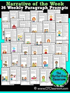 Clutter-Free Classroom: NARRATIVE PARAGRAPH OF THE WEEK: 36 Weeks of Common Core Writing Packets