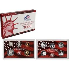 """The 2000 United States Mint Silver Proof Set contains all 10 circulating coins in stunning proof condition displayed in two protective lenses. Each of these 2000-dated coins bears the """"S"""" mint mark of the United States Mint at San Francisco.The half-dollar, quarters and dime are struck in 90% silver, generally referred to as """"coin silver.""""The coins included in this set are:* (5) State Quarters (honoring Massachusetts, Maryland, South Carolina, New Hampshire and Virginia)*..."""