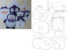 Santa, Penguin, Bear, Snowman, and Gingerbread House Patterns