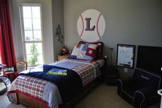 """Inspired by the boys Pottery Barn kids sports room, I have incorporated a PB anywhere chair with monogrammed slipcover, Makenzie rolling backpack and personalized """"My Very Own Name"""" and """"My very own ABC's"""".  There are several products I would like to use to complete the room."""