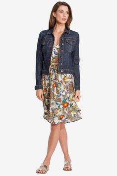Layer a jean jacket over a floral dress for the perfect flirty look
