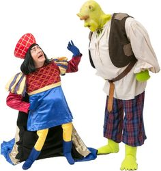Rental Costumes for Shrek the Musical - Lord Farquaad and Shrek Dreamworks Animation, Animation Film, Shrek Costume, Costumes, Lord Farquaad Costume, Oscar Wins, Jr, Fairy Tales, Musicals
