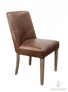 Tøff og stilig Old Amsterdam spisestol. Stolen er trukket i vintage skinn og har et historiskt og rustikt preg!