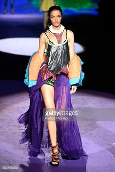 Mariacarla Boscono walks the runway during the DSquared2 fashion show as part of Milan Fashion Week Spring/Summer 2016 on September 26, 2015 in Milan, Italy.