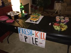 "Warrior Cats Birthday - Fresh Kill handmade sign for Food table (with canned cat food - cupcake line with Goldfish) + ""Moonpool"" labeled waters"
