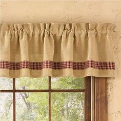 Country style decorating with cheerful Red Burlap & Check Curtain Valance measures 72 x 14 from Park Designs. 1 header and 2 rod pocket, this valance fits a Curtains For Grey Walls, Check Curtains, Brown Curtains, Elegant Curtains, Vintage Curtains, Country Curtains, Burlap Curtains, Curtains Living, Velvet Curtains