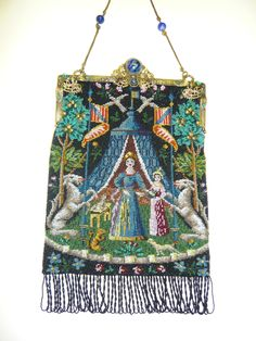 Micro beaded figural purse based on antique tapestry - collection of Kathy Gunderson