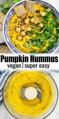 This pumpkin hummus with fresh parsley and sesame seeds is the perfect snack or appetizer for fall! It's super delicious, packed with protein, and really easy to make! It's one of my favorite hummus recipes! - Food and Drink Vegan Recipes Easy, Vegetarian Recipes, Cooking Recipes, Vegetarian Protein, Vegetable Recipes, Clean Eating Snacks, Healthy Snacks, Healthy Eating, Vegan Appetizers