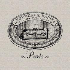 French Script Le Bain Paris French Bathroom by DigitalThings, $1.00