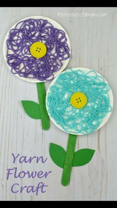 This is a great flower craft for kids to do in the spring, summer, or while studying flowers. The yarn adds texture and dimension to your flower craft. (arts and crafts projects for kids) Spring Crafts For Kids, Summer Crafts, Projects For Kids, Art For Kids, Art Projects, Spring Crafts For Preschoolers, Green Crafts For Kids, Art Children, Kid Art