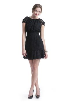 Adorable Lace Peasant Dress: Love The Elastic Neck, Tight Waistband, Bottom Ruffle