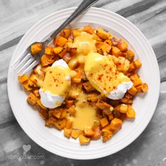 poached eggs and hash