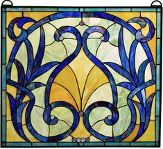 """$195 The Eliza Blue and Gold Stained Glass Window 26.5 x 23.25"""""""
