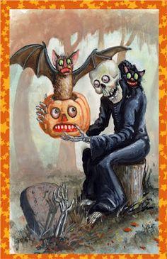 """Come & Get It"" Original Halloween Postcard Art by Shiverbones Retro Halloween, Fröhliches Halloween, Vintage Halloween Images, Halloween Prints, Halloween Pictures, Holidays Halloween, Halloween Decorations, Vintage Holiday, Halloween Countdown"