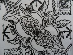 130. Classic batik floral motifs: Lung Slop. Lung=the tendril of a creeper. Slop=the type of creeper portrayed.