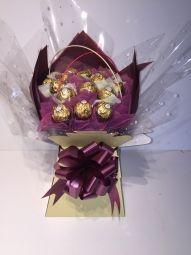 Ferrero Rocher Chocolate Bouquet in Aubergine & Cream Ferrero Rocher Bouquet, Ferrero Rocher Chocolates, Ferrero Chocolate, Sweet Trees, Gift Bouquet, Chocolate Bouquet, Handcrafted Jewelry, Handmade, Unusual Gifts